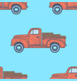 hand drawn engraved retro vintage truck pattern vector image vector image