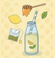 honey and lemon tea bottle with straw vector image