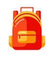 icon red school backpack in flat style vector image vector image