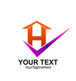 initial letter h logo template colorful check vector image