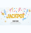 jackpot golden word on falling down confetti vector image vector image