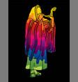 jewish blowing shofar horn cartoon graphic vector image vector image