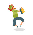 jumping customer with shopping bags shopaholic vector image
