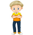 little boy in yellow shirt and jeans vector image vector image