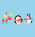 merry christmas holiday animals on a light vector image