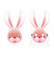 modern colorful pink mask bunny with eyes and vector image vector image