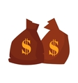 Money bag or sack cartoon style icon with dollar vector image vector image