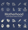 motherhood thin line and outline icons set vector image