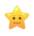 neutral star shaped comic emoticon vector image vector image
