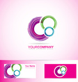 Pink colored circles logo vector image vector image