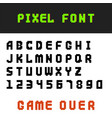 pixel retro font video computer game design 8 bit vector image