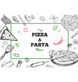 pizza and pasta frame vector image vector image