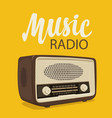 poster for music radio with old radio receiver vector image vector image
