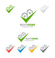 Real estate logo design with home and check vector image vector image