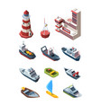 sea port isometric transport set port building vector image vector image