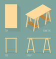 Set of modern office table isometric drawing vector image