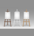 set of wooden brown white sienna easels vector image vector image