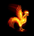 silhouette of red cock fire rooster symbol of the vector image vector image