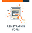 site registration form icon tablet in hand vector image vector image