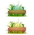 spring blades of grass with wood fence vector image