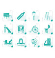 stylized park objects and signs icon vector image vector image