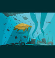 underwater pollution flat composition vector image