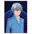 young man anime cartoon vector image