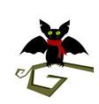 cartoon bat head icon character flying vector image
