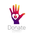 Donation sign icon Donate money hand and heart vector image