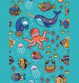 aquatic animals seamless pattern vector image
