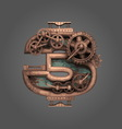 3 rusted letter with gears vector image vector image