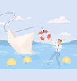 bankruptcy business financial rescue sinking vector image