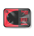 beef meat packaging plastic tray container with vector image vector image