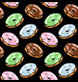 black glazed donut seamless pattern vector image vector image