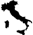 Black silhouette map of Italy vector image