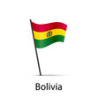bolivia flag on pole infographic element on white vector image vector image