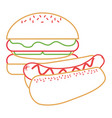 burger and hot dog fast food diet vector image vector image