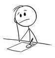cartoon man writing on paper with pen thinking vector image vector image