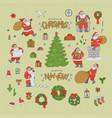 christmas set santa claus holiday symbols vector image vector image