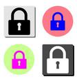 closed lock flat icon vector image vector image