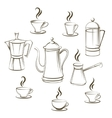 Coffee sketch collection vector image vector image