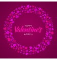 Colorful Hearts Circle Frame Valentines Day Card vector image