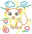 coloring book of cute fox vector image