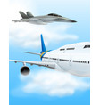 commerical aircraft and fighter jet vector image vector image