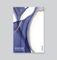 contrast navy marble ink with glden vector image