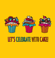 Cupcakes Hand Drawn Doodle Yellow vector image vector image