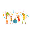 cute boys and girl celebrating kids party happy vector image vector image