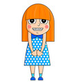 cute cartoon girl with mischievous emotions vector image