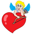 cute cupid resting on heart vector image