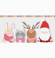 cute santa reindeer raccoon and bunny lights vector image